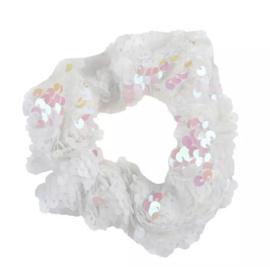 Haarelastiekjes pailletten scrunchie wit