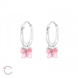 Creolen Sterling zilver 925 Roze Swarovski kristallen vlinder