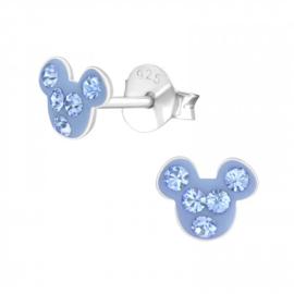 Kinderoorbellen Sterling zilver 925 Muis kristal blauw