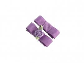 Babyhaarspeldje met lint paars met paars roosje
