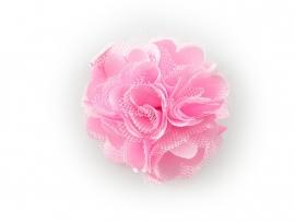Haarbloem satijn/tule roze
