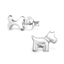 Kinderoorbellen Sterling zilver 925 Hond en bot
