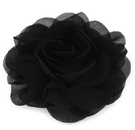 Haarbloem groot stof bloem zwart
