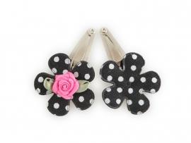 Babyhaarspeldjes zwarte gestipte bloem