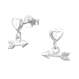 Oorbellen Sterling zilver 925 Hart met hangende pijl