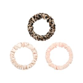 Haarelastiekjes mini scrunchie  panter/roze