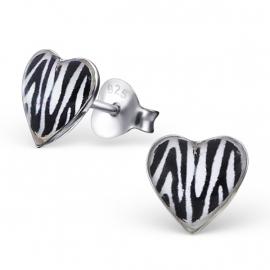 Kinderoorbellen Sterling zilver 925 Hartjes zebra
