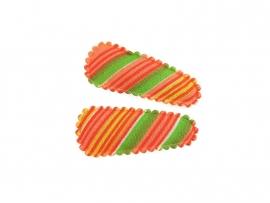 Babyhaarspeldjes oranje gestreept