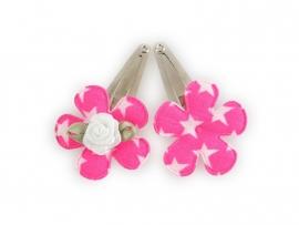 Babyhaarspeldjes felroze bloem met ster