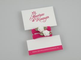 Haarelastiekjes badstof fuchsia met wit roosje