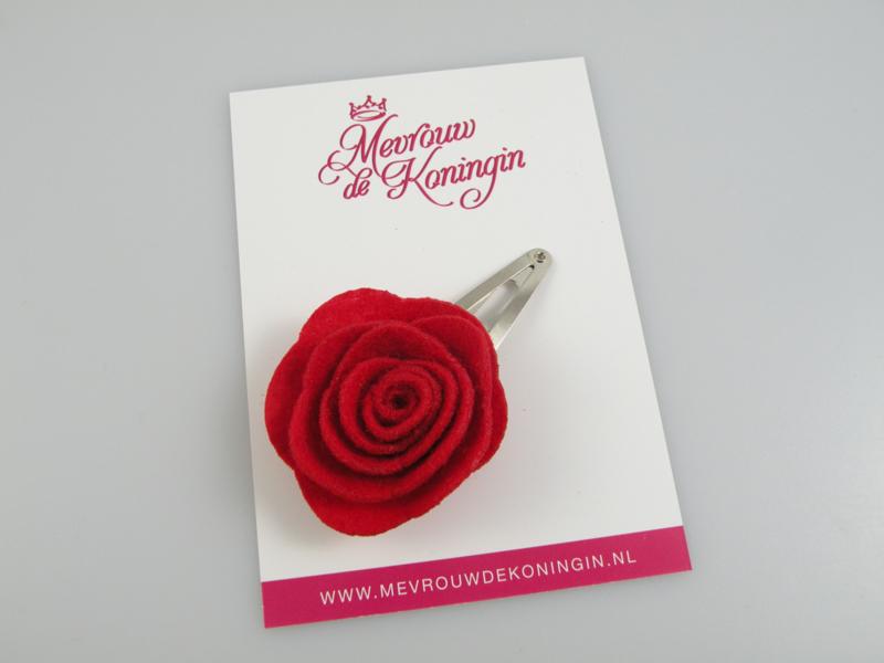 Haarspeldje vilten bloem rood