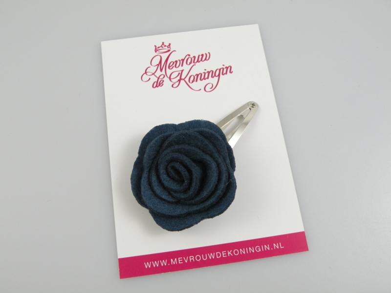 Haarspeldje vilten bloem blauw
