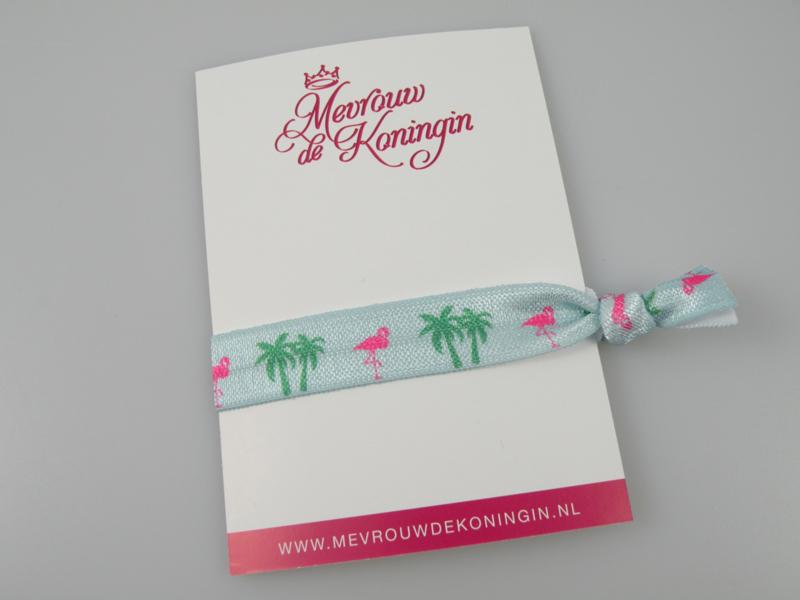 Elastisch band flamingo/palmboom