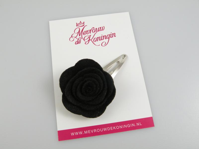Haarspeldje vilten bloem zwart