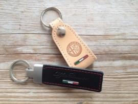 Schlüsselanhänger-Set 1 x Alfa Romeo leder + 1 x Alfa Romeo Schwarz