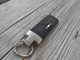 Alfa Romeo keychain leather, black/red sticked