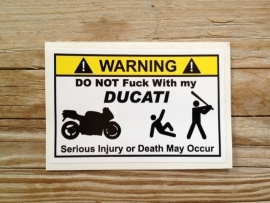 WARNING DUCATI STICKER