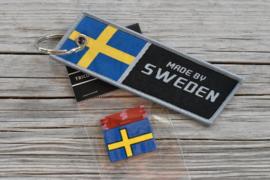 VOLVO Sleutelhanger + Zweeds rubber vlaglabel (alle types)