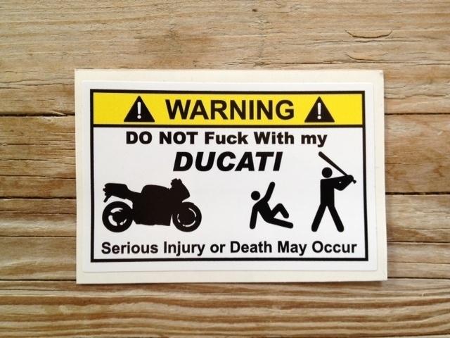 WARNING DUCATI STICKER