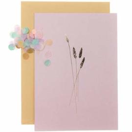 Paper Poetry wenskaart - Oudroze met gouden aren