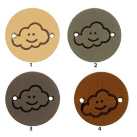Leren label rond 2 cm - Cloud - 2 stuks