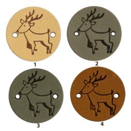 Leren label rond 2 cm - Deer - 2 stuks