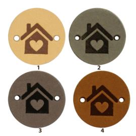Leren label rond 2 cm - Home - 2 stuks