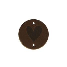 Donkerbruin Leren label Rond Hart 30mm