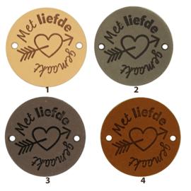 Leren label rond 3,5 cm - Met liefde gemaakt - 2 stuks