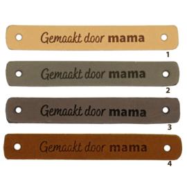 Leren label - Gemaakt door mama- 2 stuks