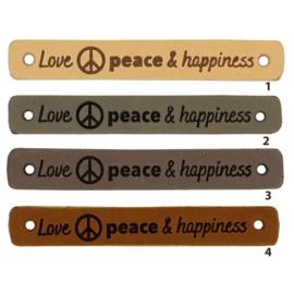 Leren label - Love Peace & Happiness - 2 stuks