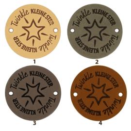 Leren label rond 3,5 cm - Twinkle kleine ster ⭑ - 2 stuks