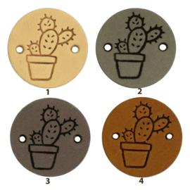 Leren label rond 2 cm - Cactus - 2 stuks