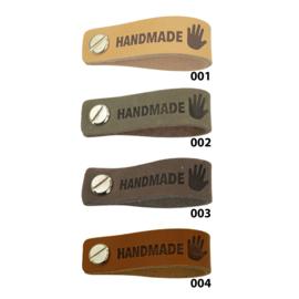 Leren label met schroef - Handmade - 2 stuks