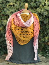 Haakpakket Horizon Shawl Curry / Pink