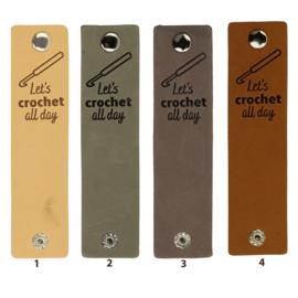 Leren label met drukknoop - Let's crochet all day - 2 stuks