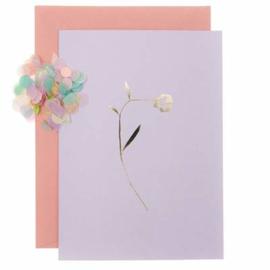 Paper Poetry wenskaart - Lila met gouden bloem