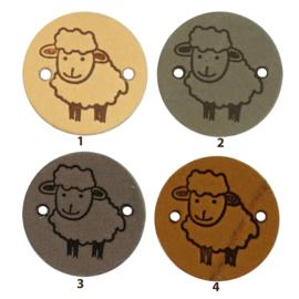 Leren label rond 2 cm - Sheep - 2 stuks