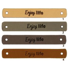 Leren label - Enjoy Life - 2 stuks