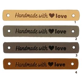 Leren label - Handmade with ♥ Love - 2 stuks