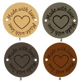 Leren label rond 3,5 cm - Made with love ♥ - 2 stuks