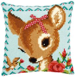 Kruissteekkussen Bambi met strikje