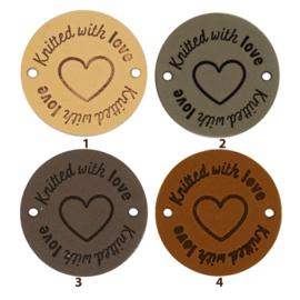 Leren label rond 3,5 cm - Knitted with love ♥ - 2 stuks