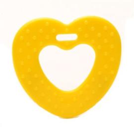Bijtring Hartje  2 stuks geel