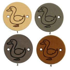 Leren label rond 2 cm - Duck - 2 stuks