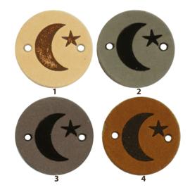 Leren label rond 2 cm - Moon - 2 stuks