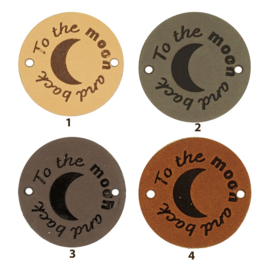 Leren label rond 3,5 cm - To the moon and back ☾ - 2 stuks