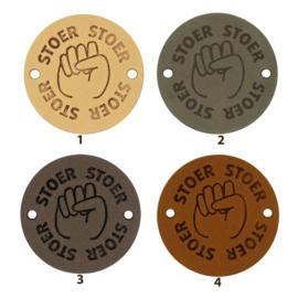 Leren label rond 3,5 cm - Stoer - 2 stuks