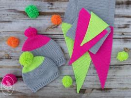 GRATIS patroon Neon Dipped Sjaal & Muts