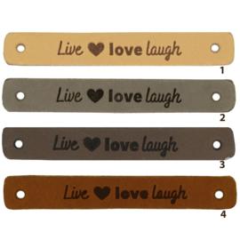 Leren label - Live Love Laugh - 2 stuks
